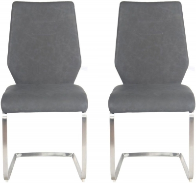 Agata Dining Chair (Pair) - Grey Faux Leather and Chrome