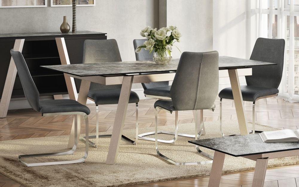Agata Grey Glass Top and Chrome Extending Dining Table with 4 Agata Grey Chairs