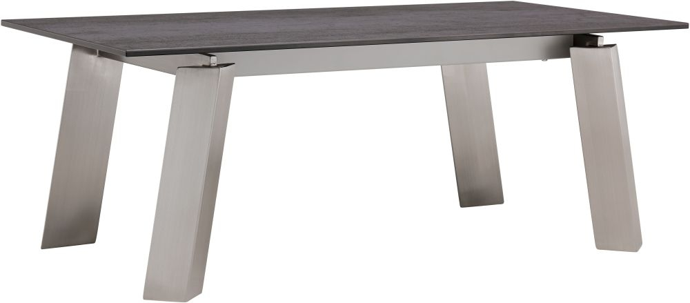 Agata Grey Ceramic and Glass Top Coffee Table with Brushed Stainless Steel Legs