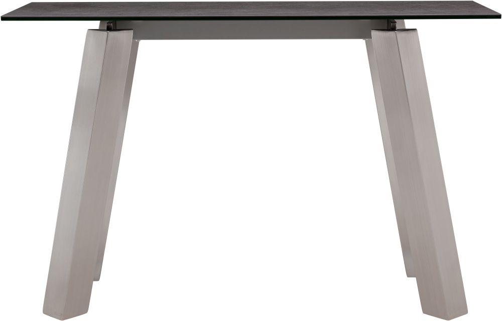Agata Grey Ceramic and Glass Top Console Table with Brushed Stainless Steel Legs thumbnail