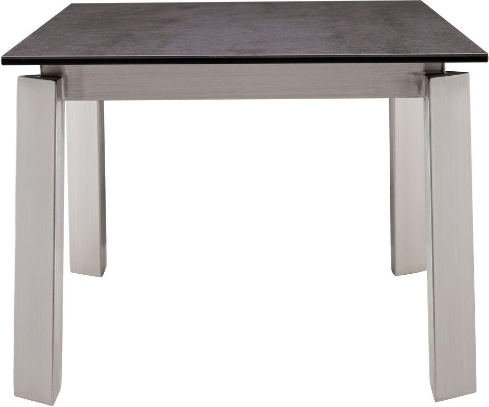 Agata Side Table - Grey Ceramic and Chrome