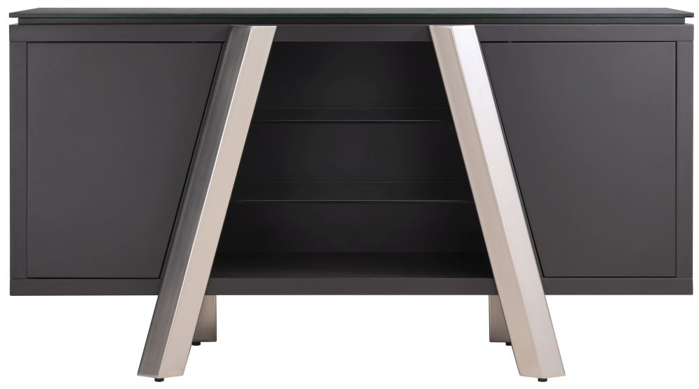 Agata Grey Ceramic and Glass Top Sideboard with Brushed Stainless Steel Legs - Large Wide 2 Door