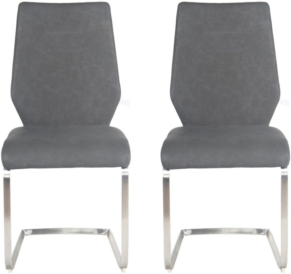 Buy Agata Grey Faux Leather Dining Chair With Chrome Legs Pair