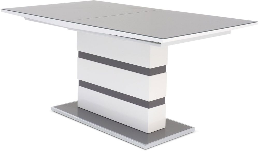 Arnano White and Grey Two Tone High Gloss Dining Table with Glass Top - 160cm-220cm Rectangular Extending