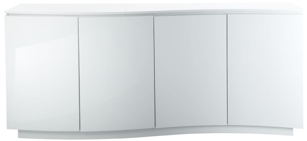 Azure White High Gloss Glass Top Sideboard with LED - Large Wide 4 Door