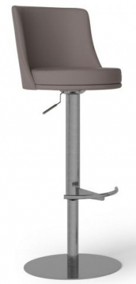 Bruno Taupe Faux Leather Bar Stool