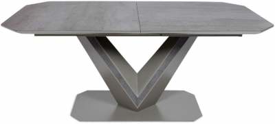 Bellagio Grey Ceramic Butterfly Extending Dining Table