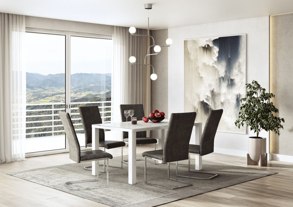 Blanca White High Gloss Large Dining Table and 4 Diego Antique Grey Chairs