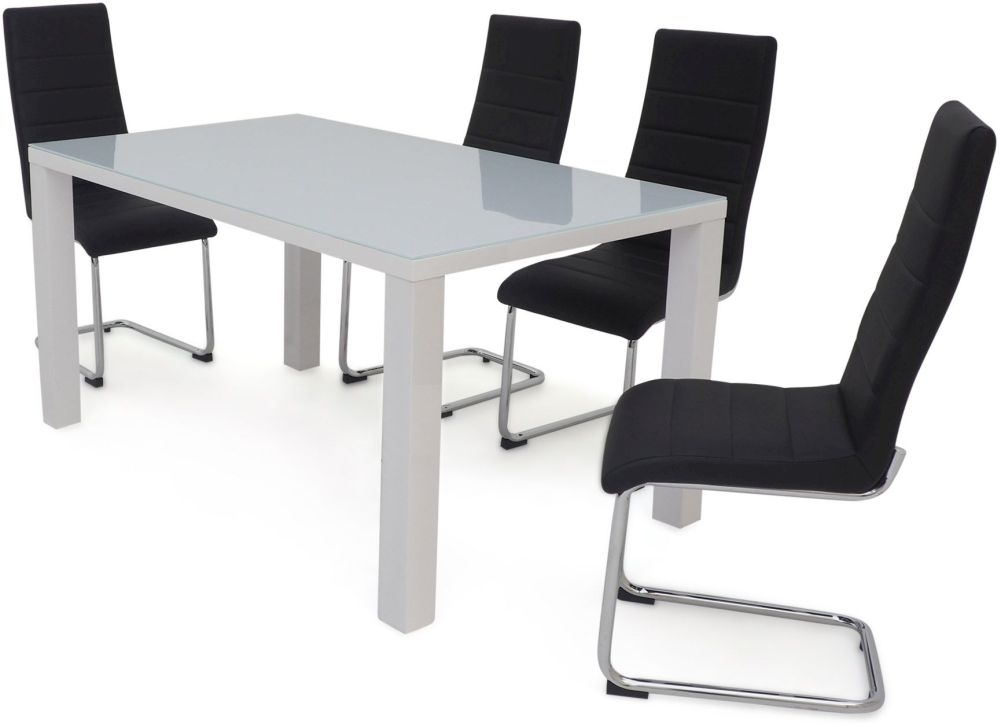 Blanca Large Dining Table and 4 Hugo Chairs - White High Gloss and Black