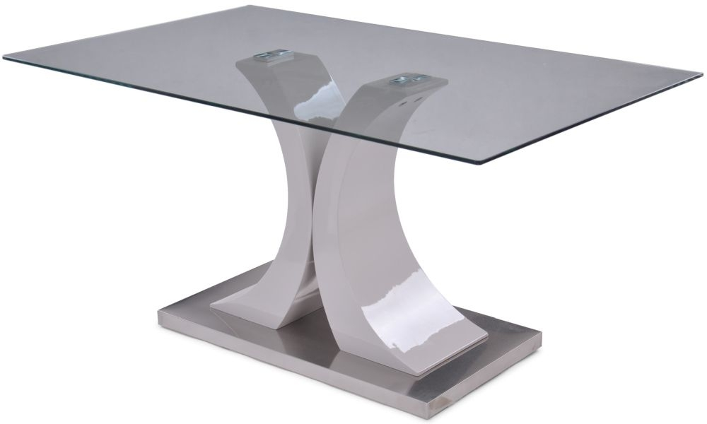 Caprice Grey High Gloss Dining Table with Glass Top - 150cm Rectangular