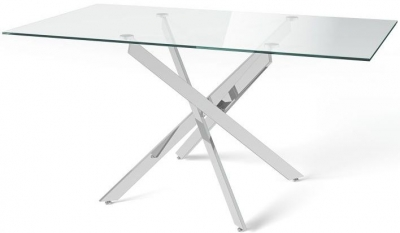 Clara Dining Table - Glass and Chrome