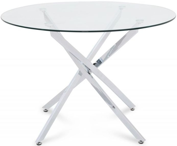 Clara Round Dining Table - Glass and Chrome