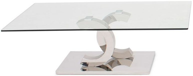 Coco Glass Coffee Table with Stainless Steel Base