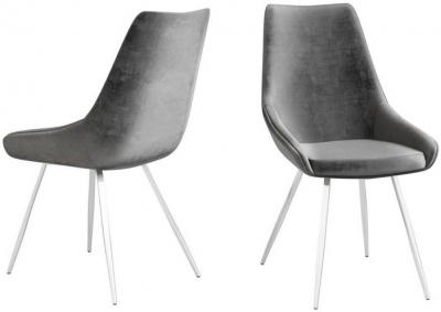 Lanna Dark Grey Velvet and Chrome Dining Chair (Pair)