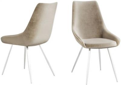 Lanna Mink Velvet and Chrome Dining Chair (Pair)