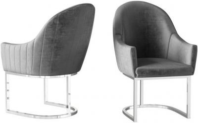 Viola Dark Grey Velvet and Chrome Dining Chair (Pair)