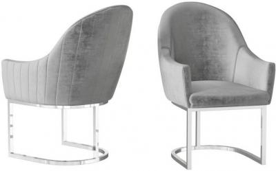 Viola Silver Grey Velvet and Chrome Dining Chair (Pair)