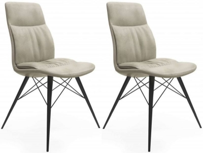 Alexa Antique Beige Faux Leather Dining Chair (Pair)