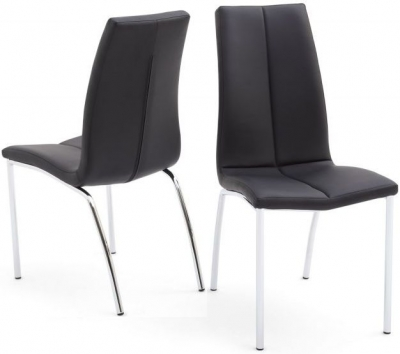 Ava Dining Chair (Pair) - Black Faux Leather