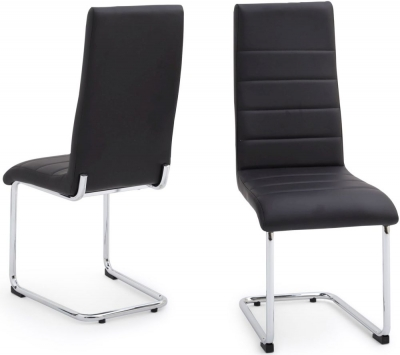 Hugo Dining Chair (Pair) - Black Faux Leather and Chrome