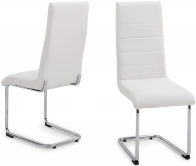 Hugo Dining Chair (Pair) - White Faux Leather and Chrome