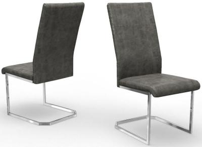 Deigo Antique Grey Faux Leather Dining Chair (Pair)