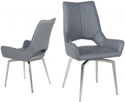 Spinello Swivel Dining Chair (Pair) - Grey Faux Leather and Chrome