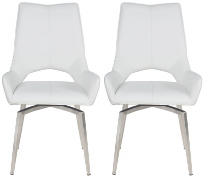 Spinello Swivel Dining Chair (Pair) - White Faux Leather and Chrome