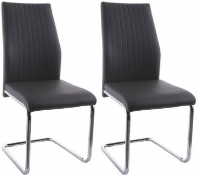 Aldo Dining Chair (Pair) - Black Faux Leather and Chrome