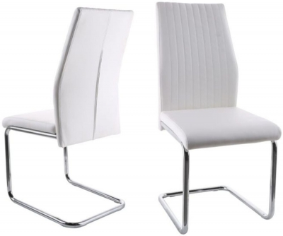 Aldo Dining Chair (Pair) - White Faux Leather and Chrome