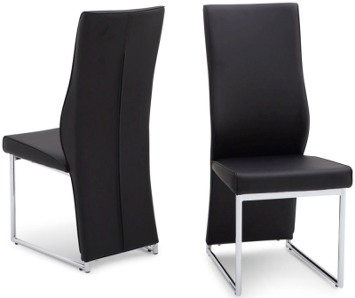 Malissa Dining Chair (Pair) - Black Faux Leather and Chrome