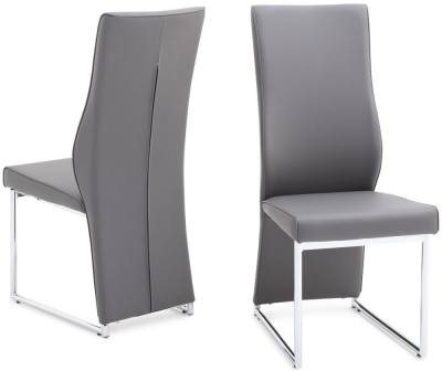 Remo Dining Chair (Pair) - Grey Faux Leather and Chrome