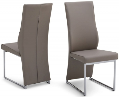 Remo Dining Chair (Pair) - Taupe Faux Leather and Chrome