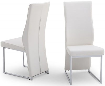 Remo Dining Chair (Pair) - White Faux Leather and Chrome