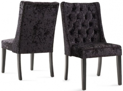 Gemma Dining Chair (Pair) - Black Velvet