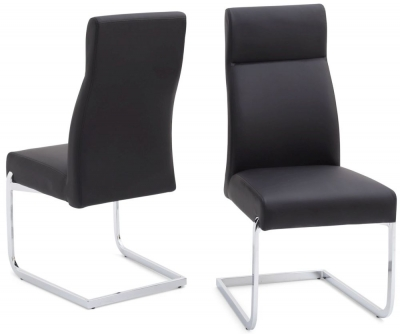 Remo Dining Chair (Pair) - Black Faux Leather and Chrome
