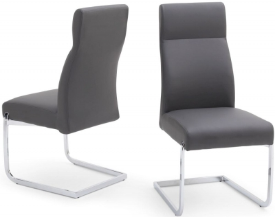 Dante Dining Chair (Pair) - Grey Faux Leather and Chrome