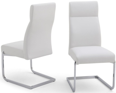 Dante Dining Chair (Pair) - White Faux Leather and Chrome