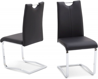 Gabi Dining Chair (Pair) - Black Faux Leather and Chrome