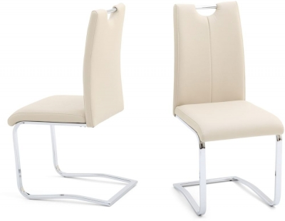 Gabi Dining Chair (Pair) - Cream Faux Leather and Chrome