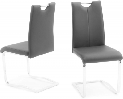 Gabi Dining Chair (Pair) - Grey Faux Leather and Chrome