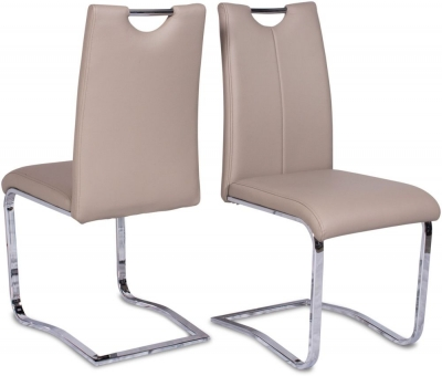 Gabi Dining Chair (Pair) - Taupe Faux Leather and Chrome
