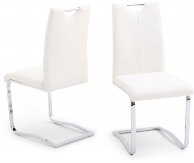 Gabi Dining Chair (Pair) - White Faux Leather and Chrome