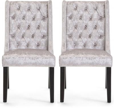 Gemma Dining Chair (Pair) - Silver Velvet