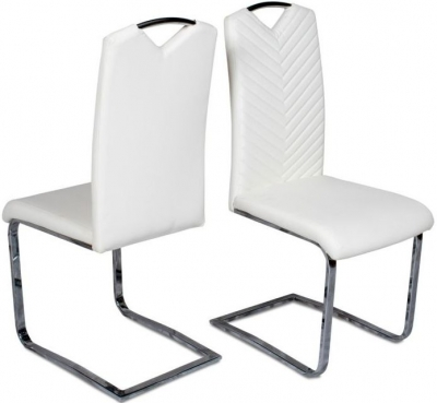 Marco Dining Chair (Pair) - White Faux Leather