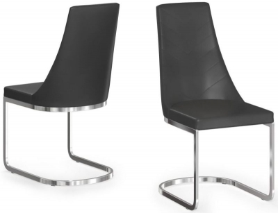 Mia Black Faux Leather Dining Chair (Pair)