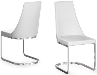 Mia White Faux Leather Dining Chair (Pair)