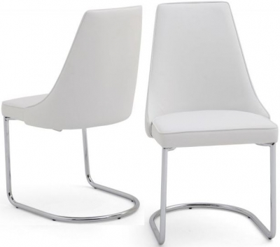 Mya Dining Chair (Pair) - White Faux Leather