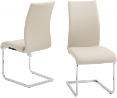 Paolo Dining Chair (Pair) - Cream Faux Leather and Chrome