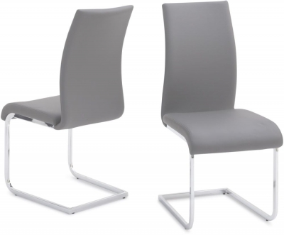 Paolo Dining Chair (Pair) - Grey Faux Leather and Chrome